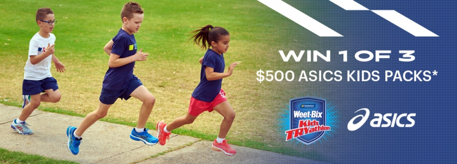 Win 1 of 3 x $500 ASICS Kid's Products Packs (exact prize items TBA)