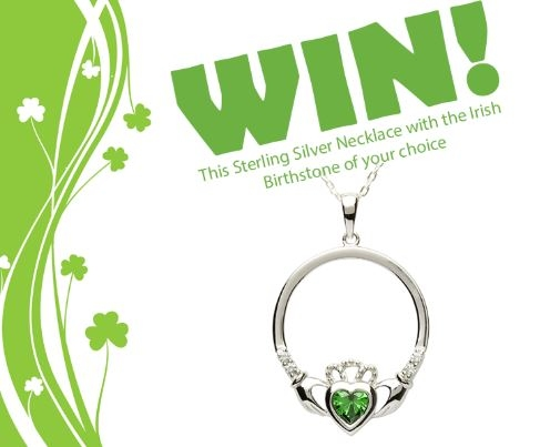 Win an Irish Sterling Silver Claddagh Necklace with Birthstone of your choice