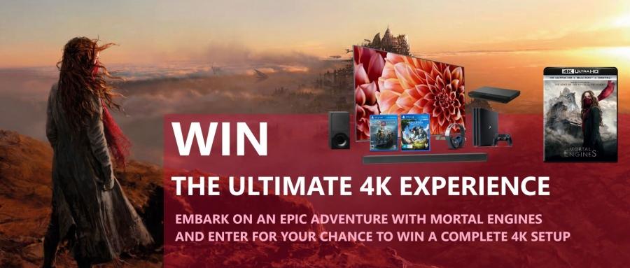 Win a Sony 55-inch 4K TV & Soundbar + PS4 1TB Console & Games & Headset + Blu-ray Player & 'Mortal Engines' 4K UHD Blu-ray