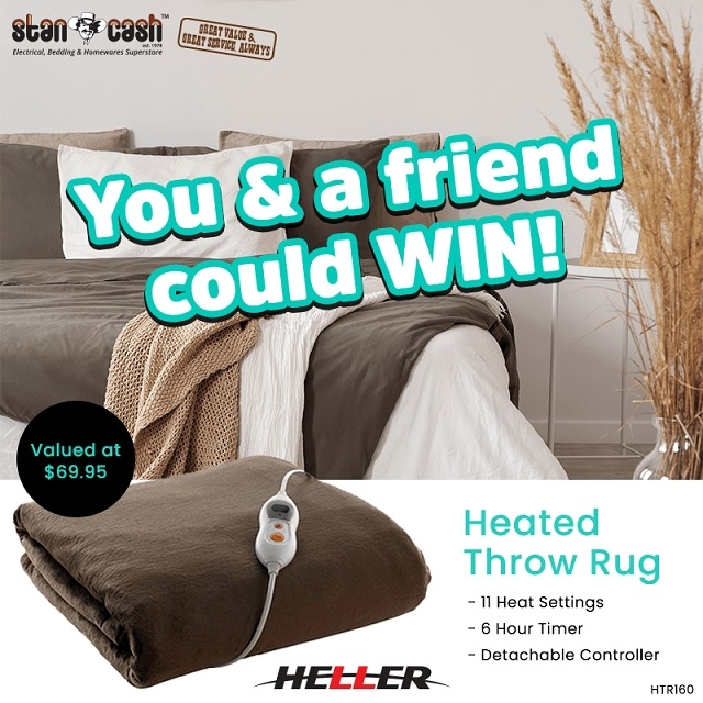Win a Heated Throw Rug for you + one for a friend
