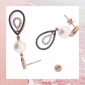 Win 9ct Rose Gold Earrings with Pearls & Diamonds