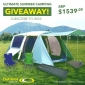 Win a Camping Package with Family Dome Tent, Camp Chairs & Table, Stretcher Bed and more..